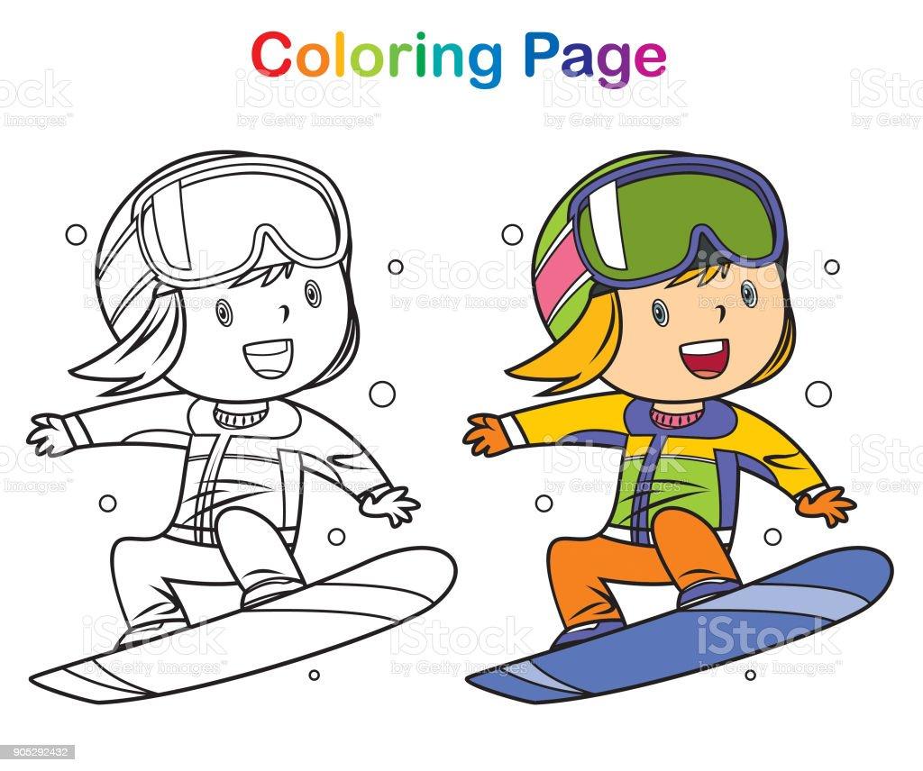 Malbuch Mädchen Snowboarden Stock Vektor Art und mehr Bilder von ...