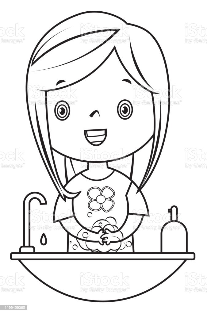 Ilustracion De Libro Para Colorear Chica Que Se Lava Las Manos Y