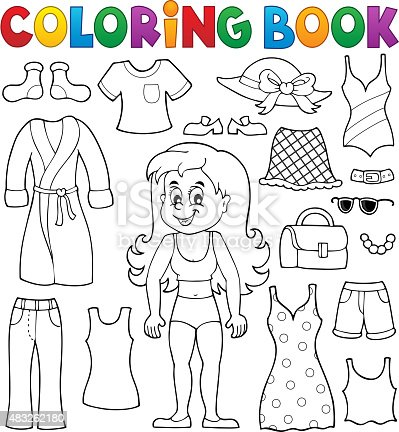 Coloring Book Girl With Clothes Theme 1 Stock Vector Art & More ...