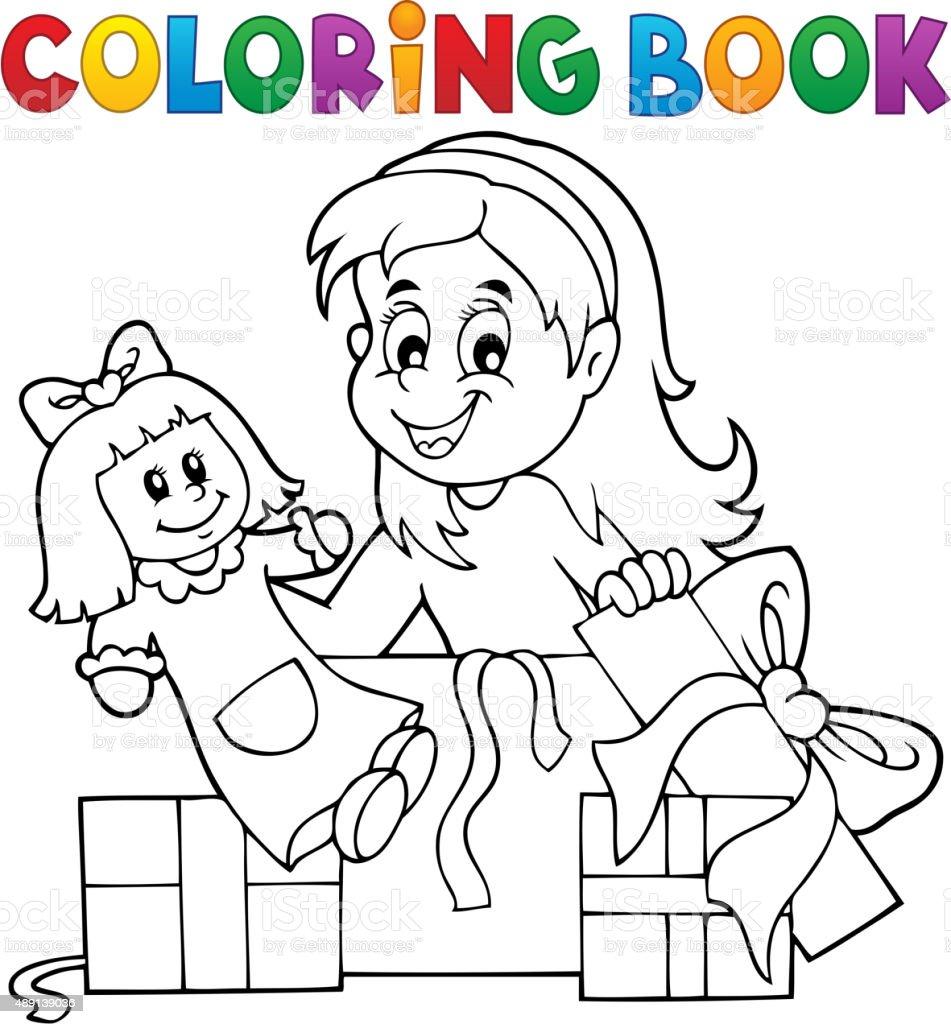 Libro Para Colorear Niña Con Muñeca Y Regalos - Arte vectorial de ...