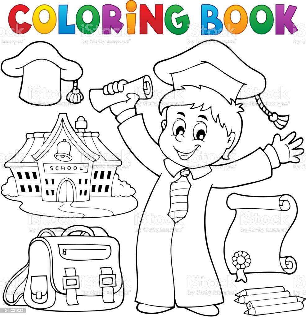 Ilustración De Tema De Graduación De Libro Para Colorear 1 Y