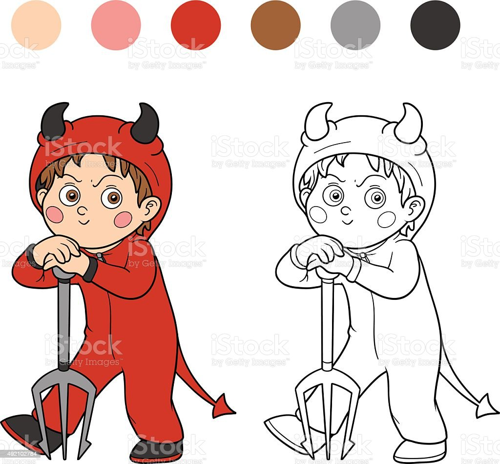 Libro Para Colorear Carácter Halloween Devil - Arte vectorial de ...