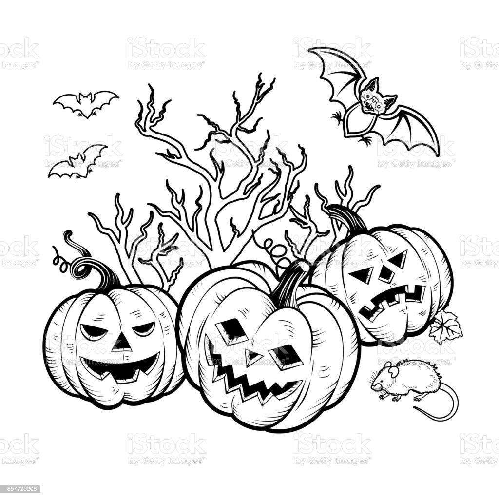 Personajes De Halloween Para Colorear Libro Ilustración De Vector ...