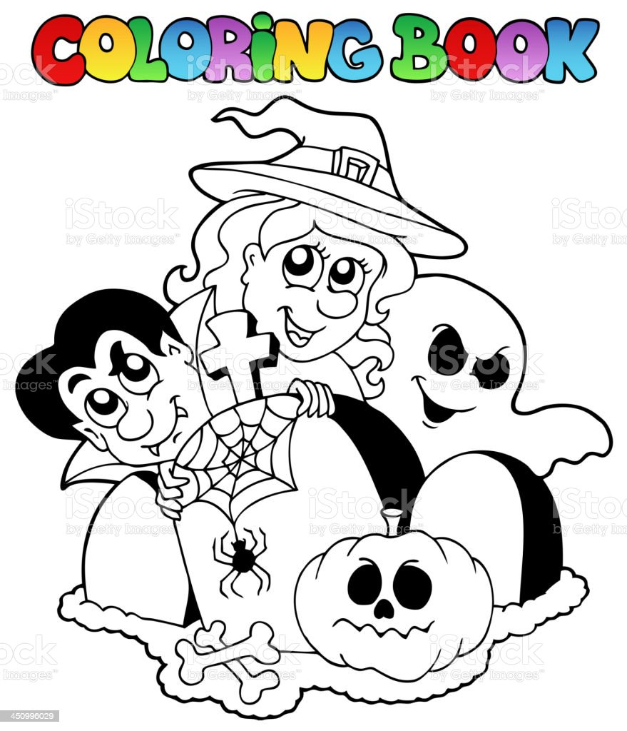 Libro Para Colorear Halloween Tema 1 Illustracion Libre de Derechos ...
