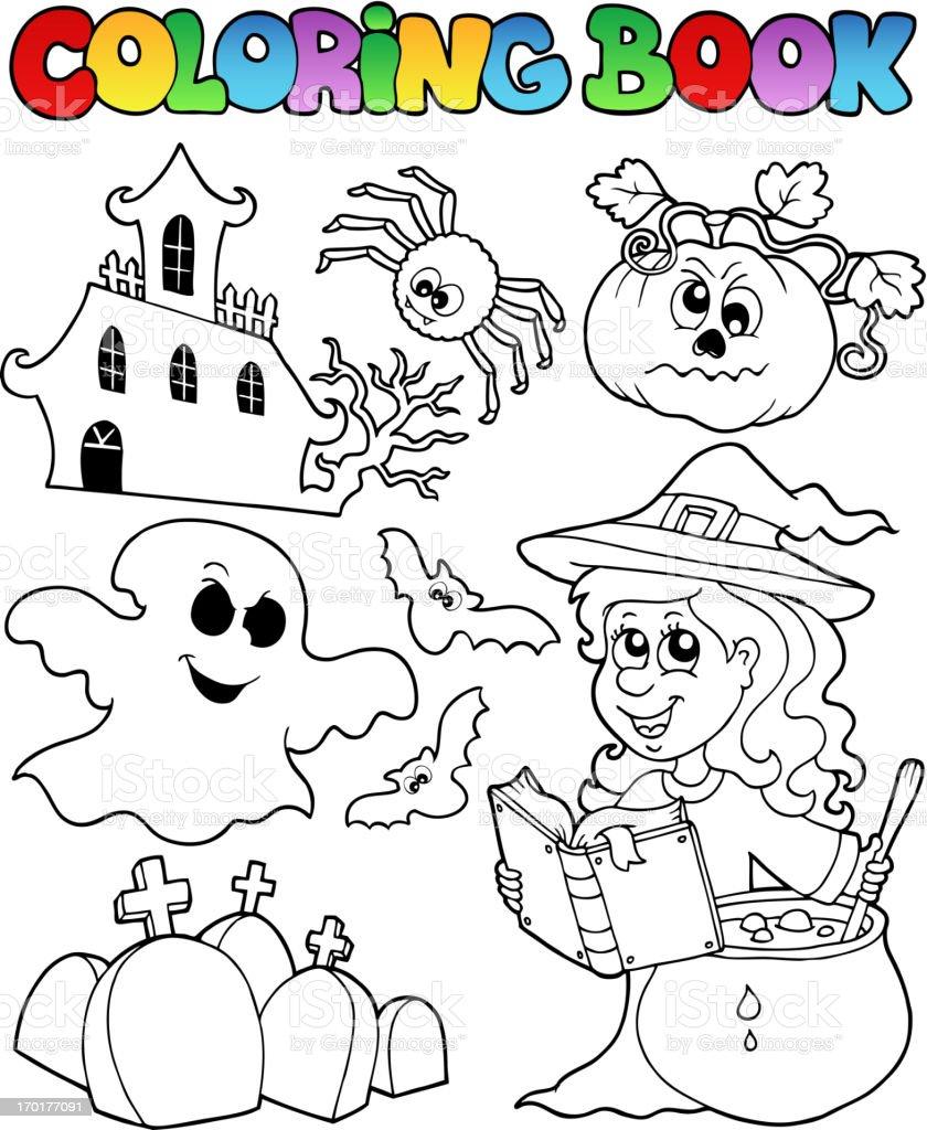 Libro Para Colorear Halloween Tema 8 - Arte vectorial de stock y más ...