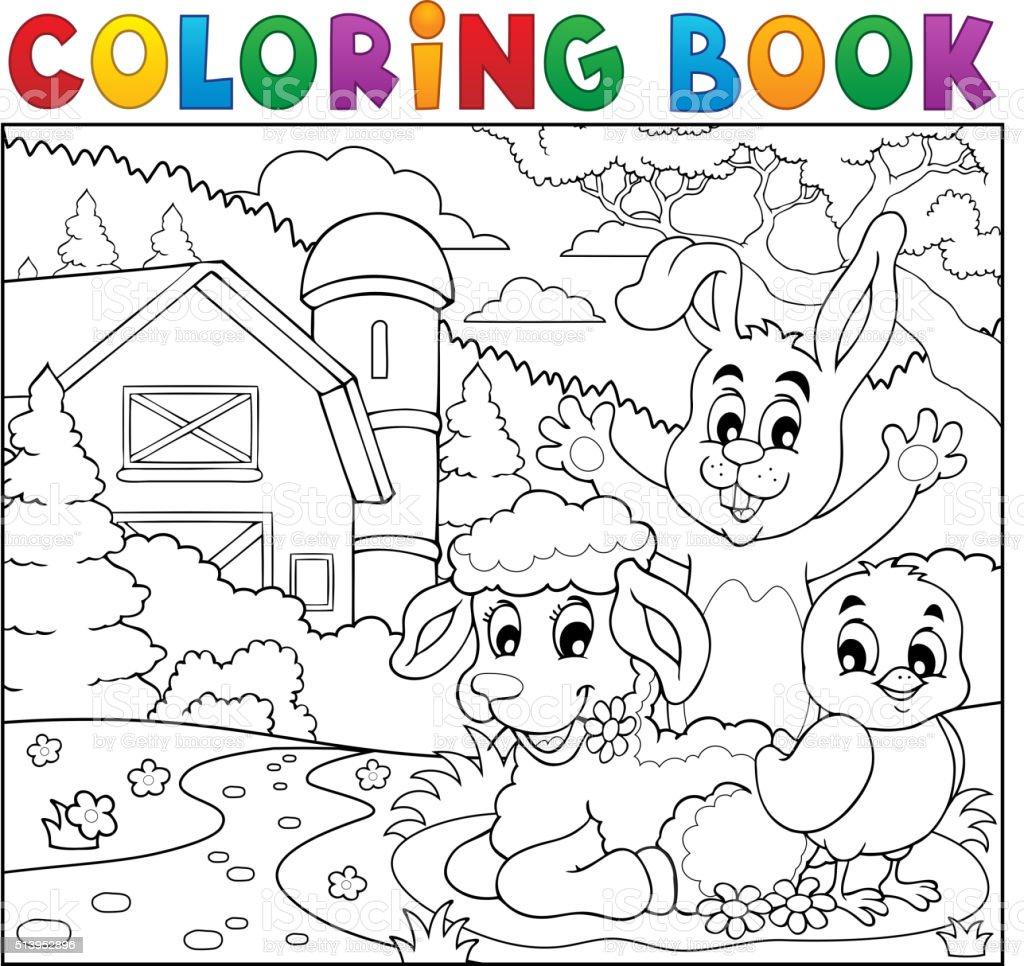 Libro Da Colorare Di Animali Della Fattoria Felice Vicino Immagini