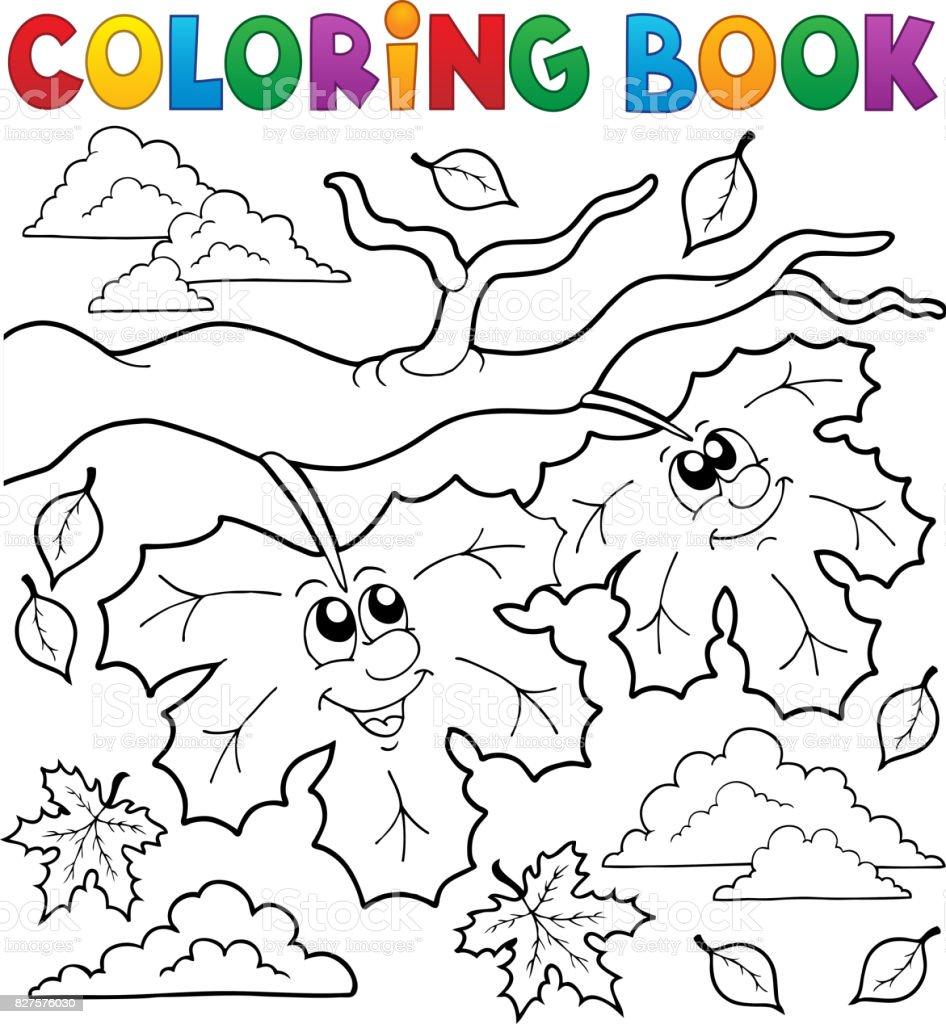 Kitap Mutlu Sonbahar Boyama Yaprakları Stok Vektör Sanatı Bulut