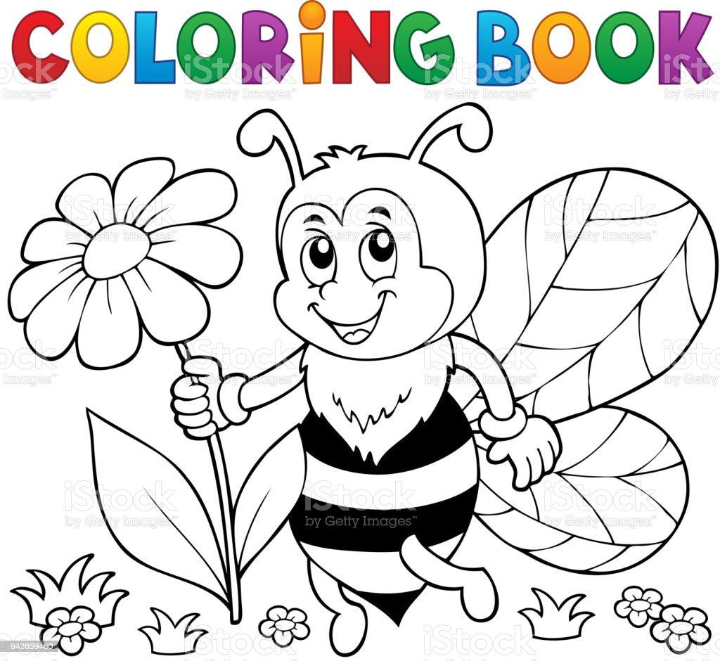 Boyama Kitabı Mutlu Arı Tema 4 Stok Vektör Sanatı Arılarnin Daha