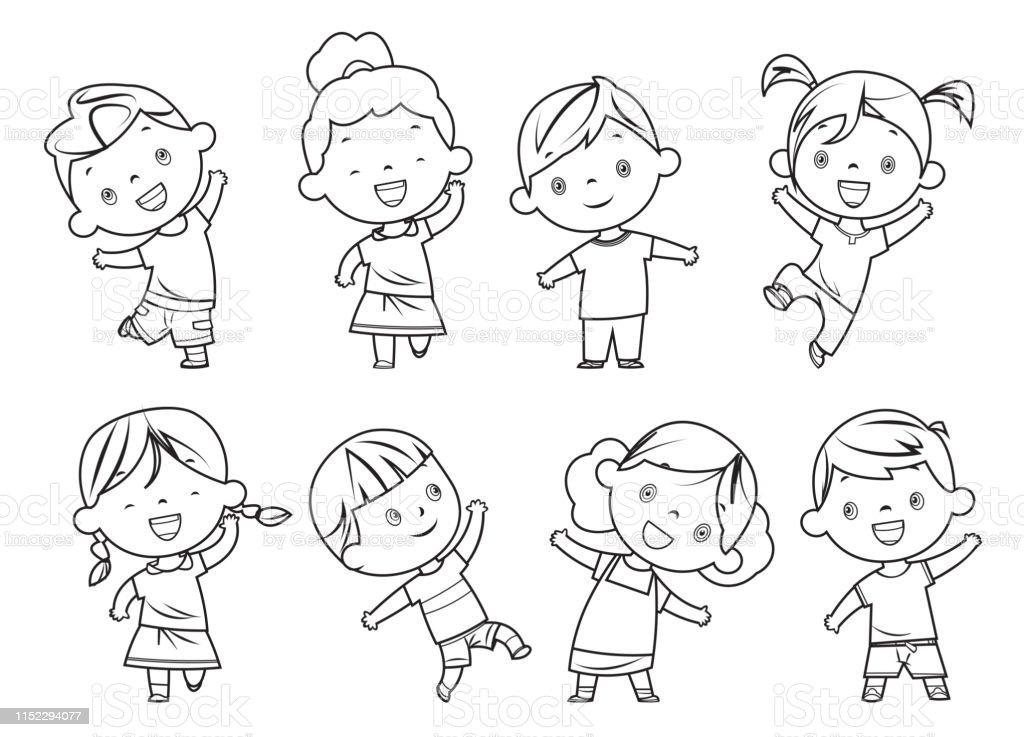 Ilustración De Libro Para Colorear Niños Felices