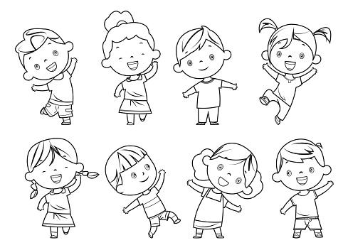 Coloring book, happy children set