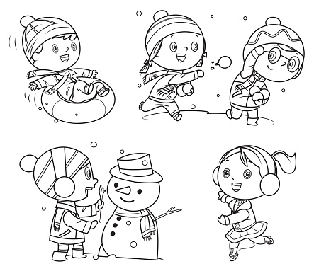 Coloring Book, Happy childrens playing in winter games