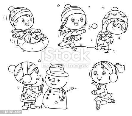istock Coloring Book, Happy childrens playing in winter games 1181649962