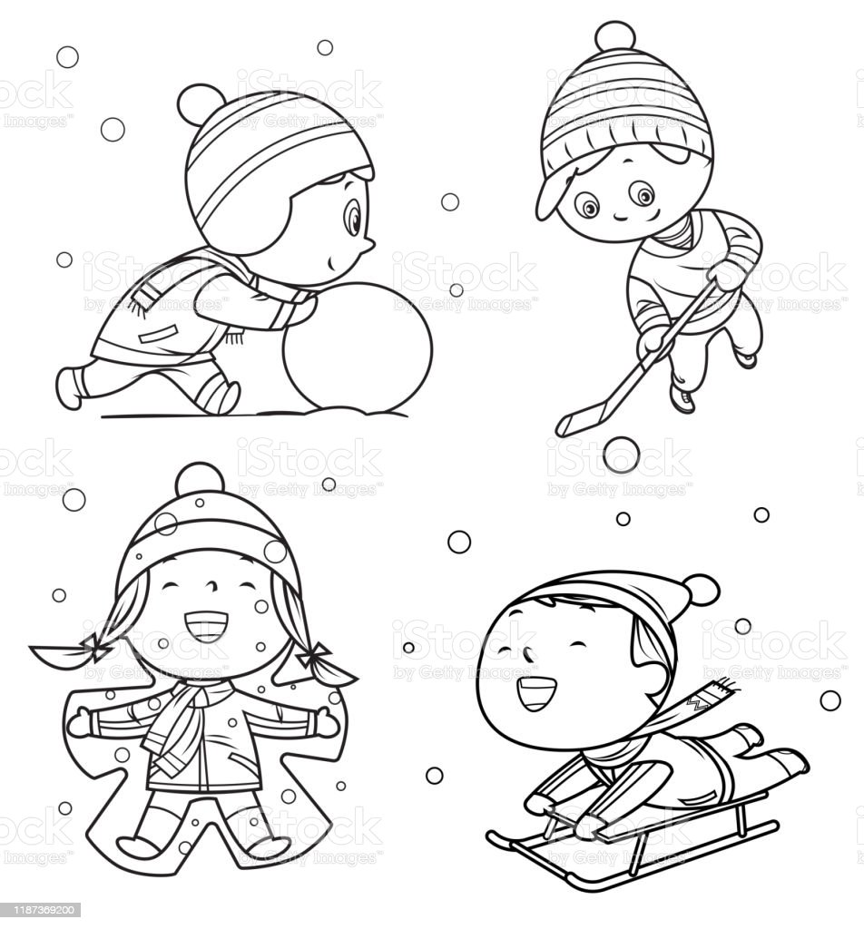 - Coloring Book Happy Childrens Playing In Winter Games Stock