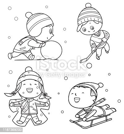 istock Coloring Book, Happy childrens playing in winter games 1187369200