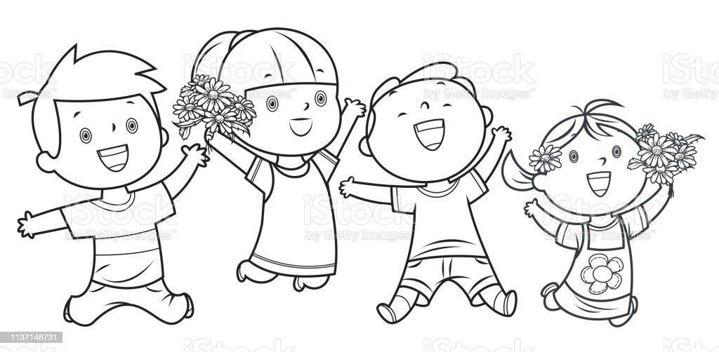 Ilustración De Libro Para Colorear Niños Felices Saltando Y Más