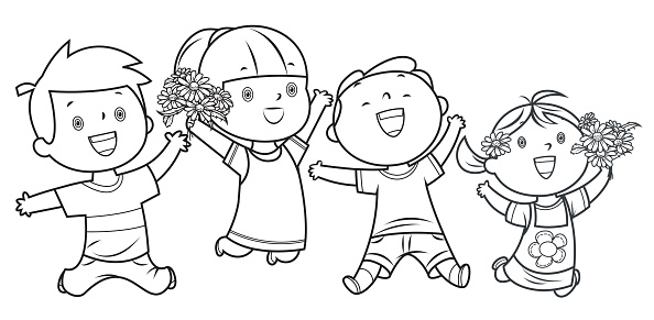 Coloring Book, Happy Kids Jumping