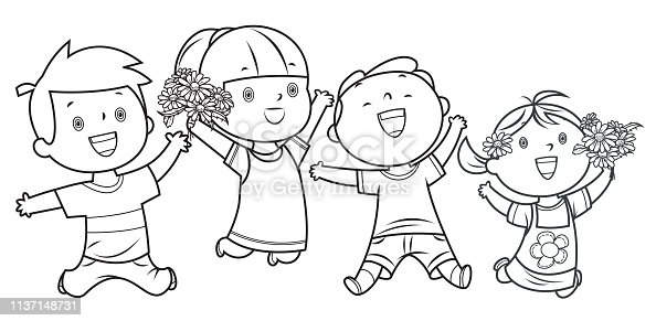 istock Coloring Book, Happy Kids Jumping 1137148731