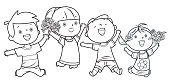 Vector Coloring Book, Happy Kids Jumping