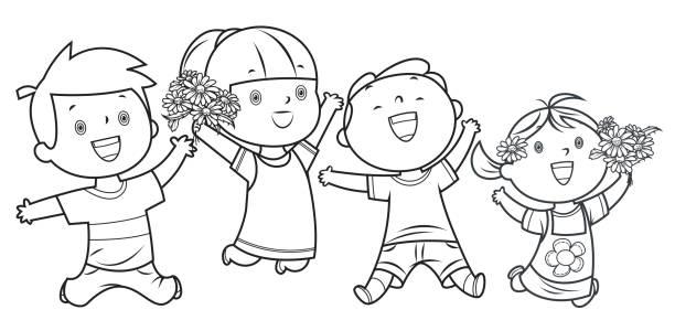 illustrations, cliparts, dessins animés et icônes de livre de coloriage, joyeux enfants sautant - nuage 6