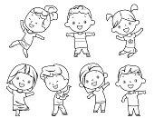 Vector coloring book, happy kids set