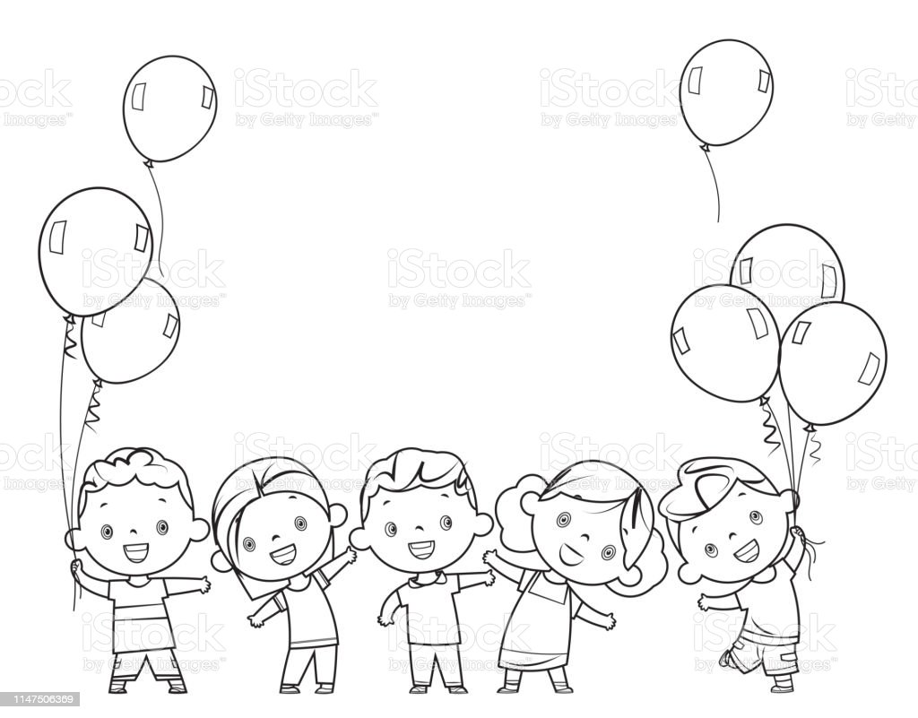 Ilustración De Libro Para Colorear Niños Felices Juntos Y