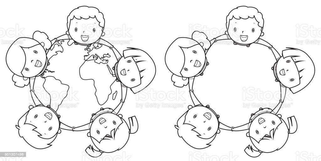 Ilustración de Libro Para Colorear Feliz Multi étnicos Niños ...