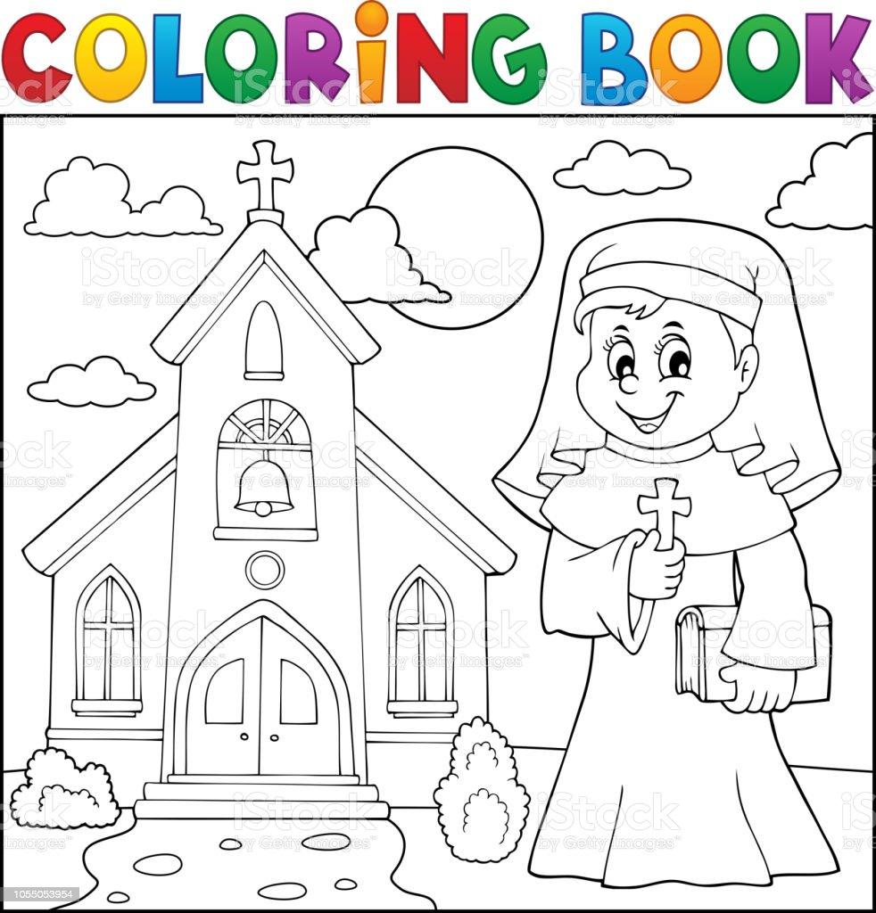 Coloriage Adulte Eglise.Theme De Coloriage Livre Heureux Nun 2 Vecteurs Libres De Droits