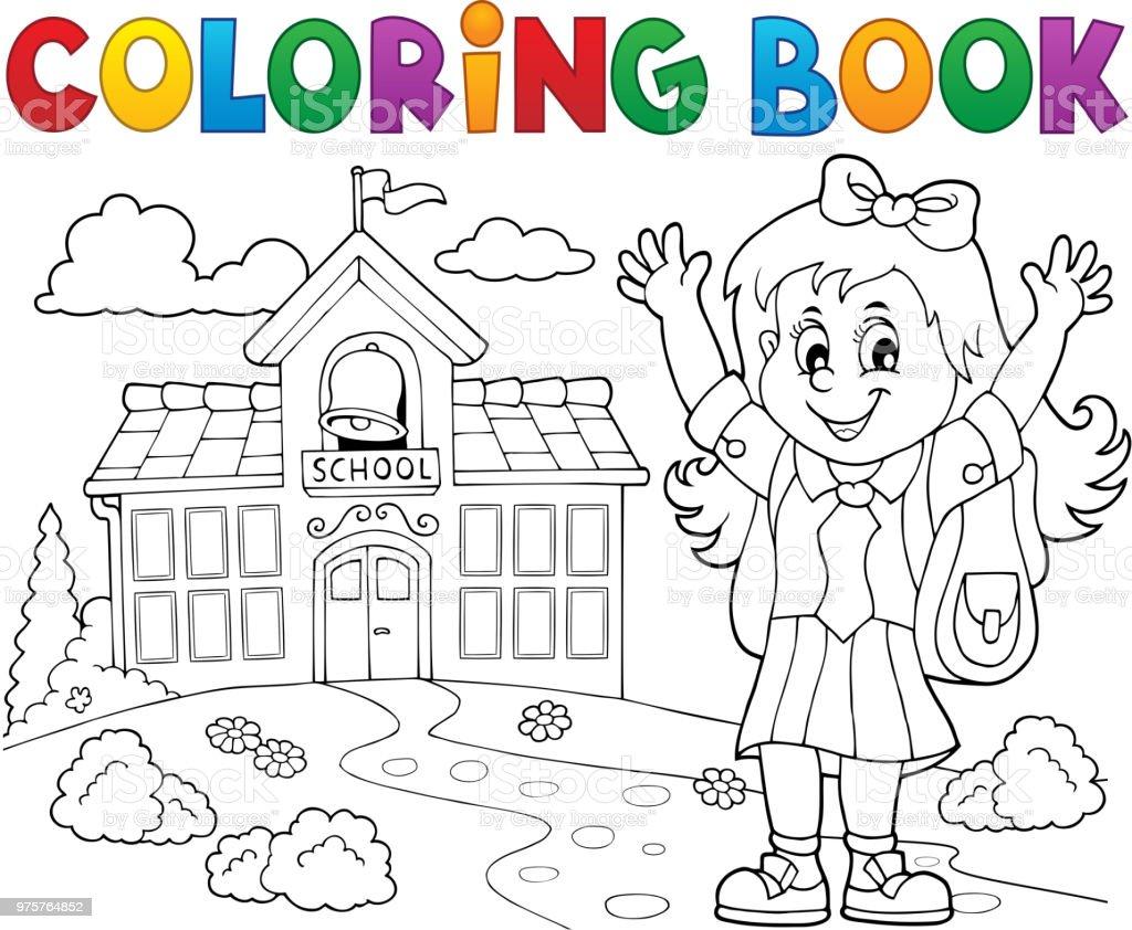 ぬりえ本幸せな瞳の女の子テーマ 2 1人のベクターアート素材や画像を