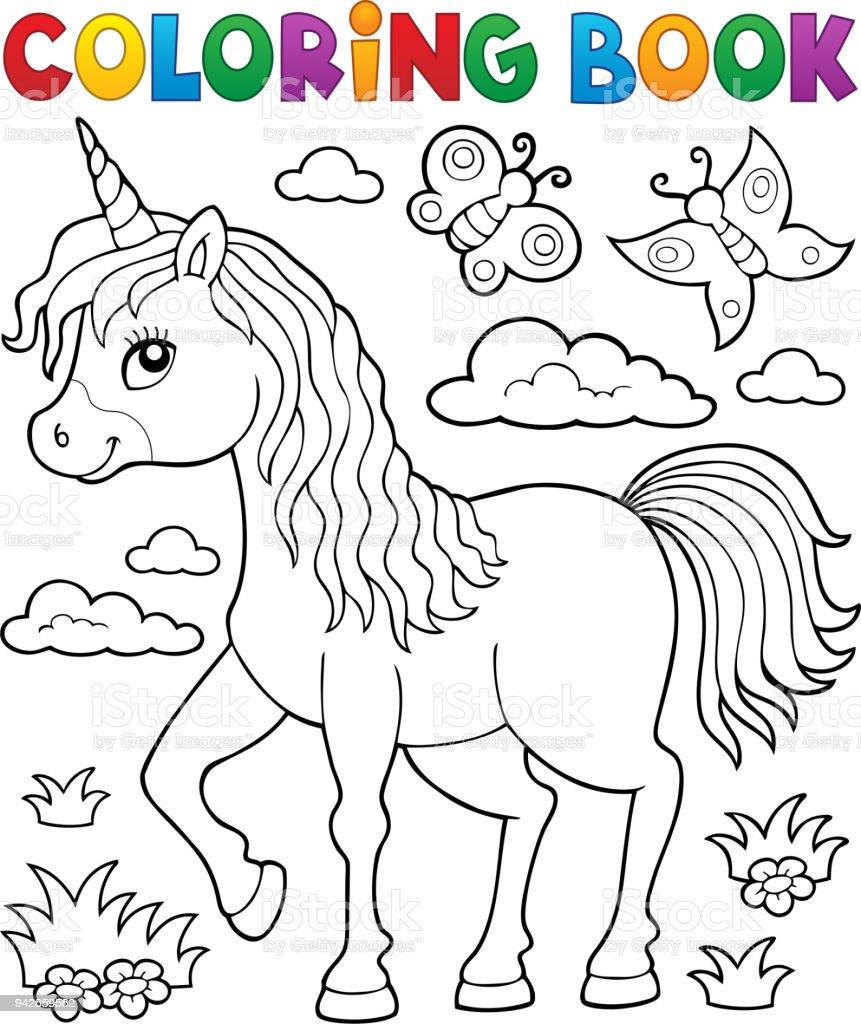 Boyama Kitabı Mutlu Unicorn Tema 1 Stok Vektör Sanatı At