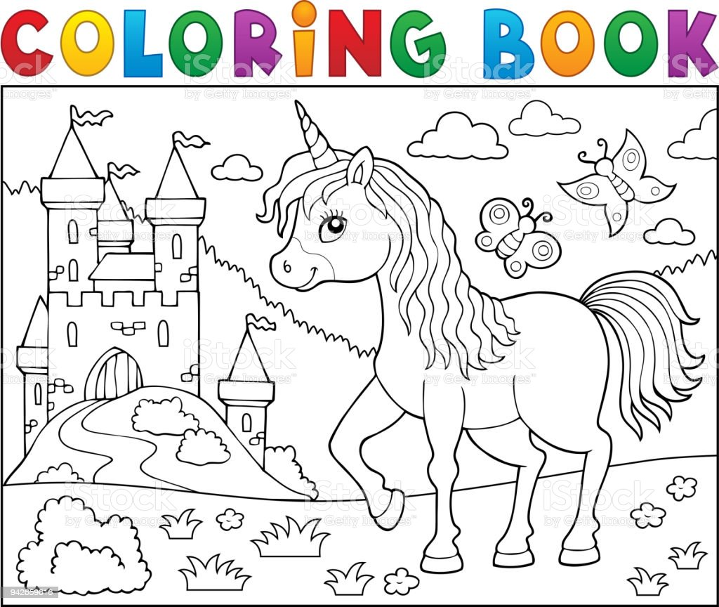 Coloring Book Happy Unicorn Topic 2 Stock Vector Art More Images