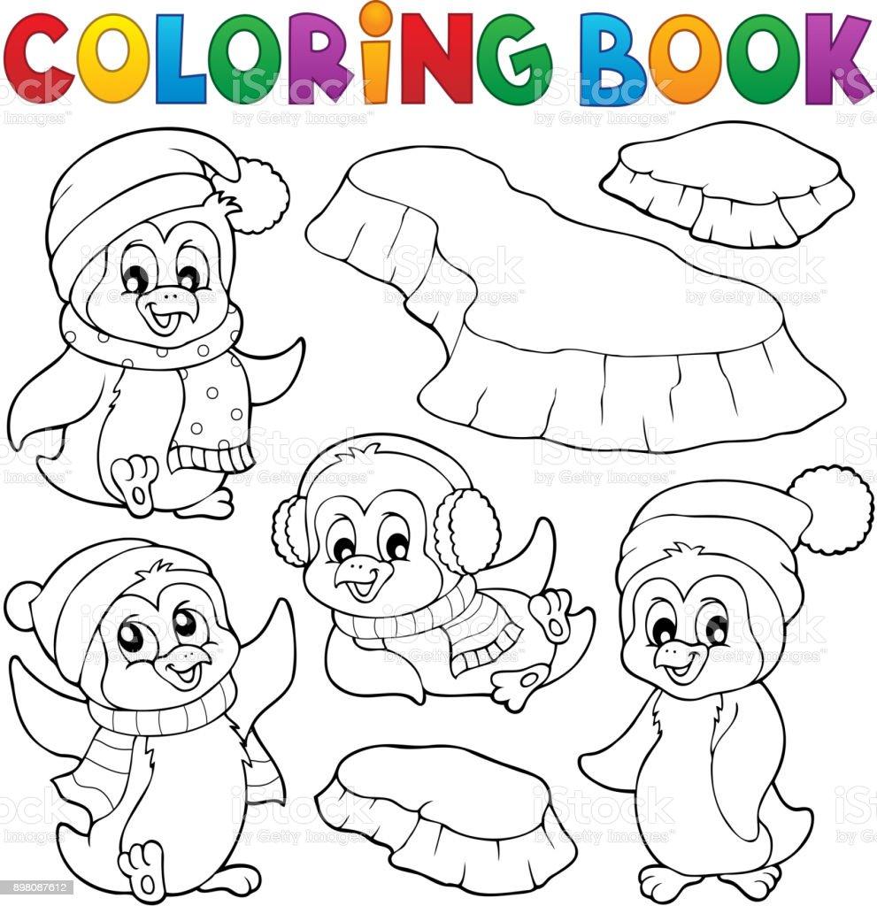 Ilustración de Pingüinos De Invierno Feliz Para Colorear Libro y más ...