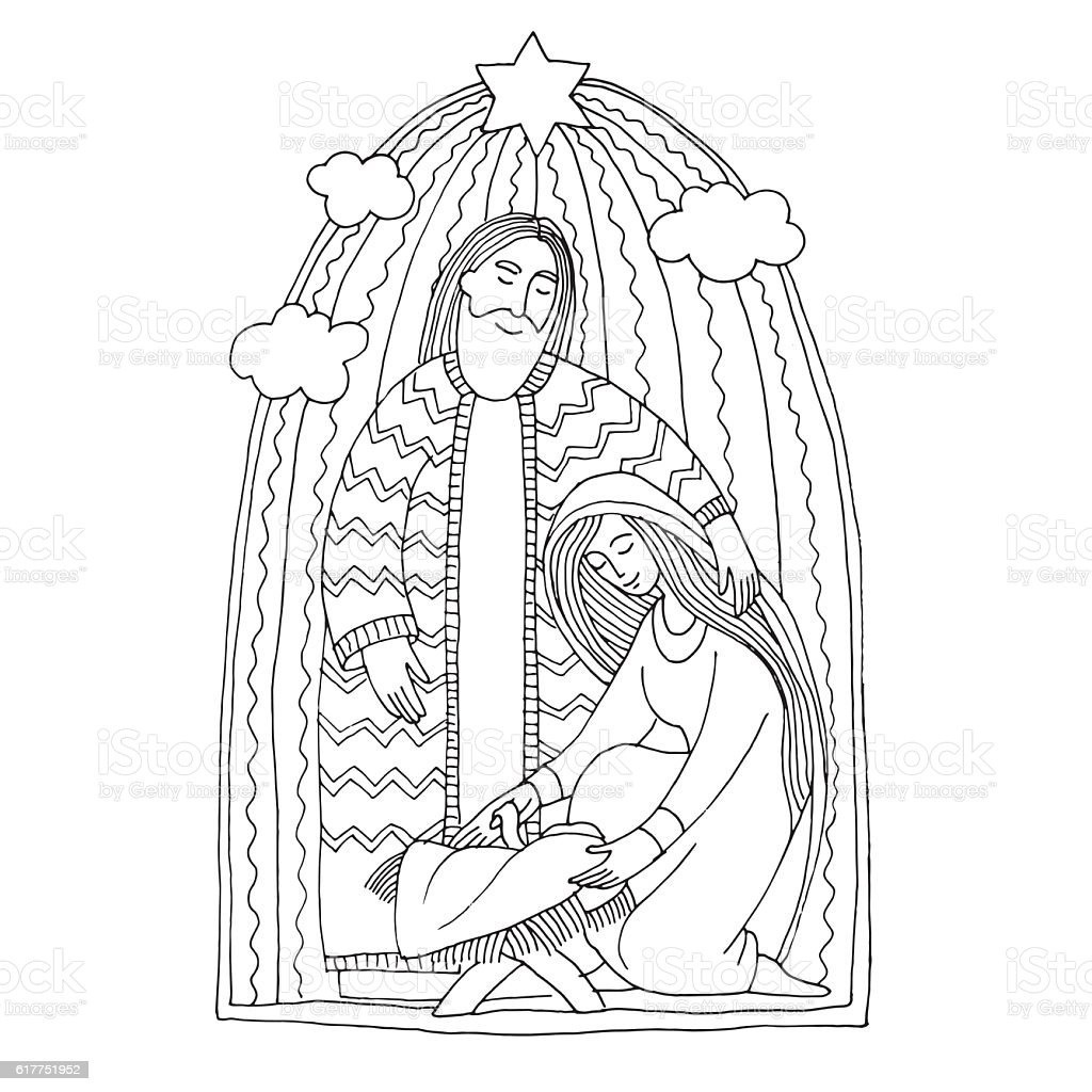 coloring book holy family drawing in kids stile stock vector art