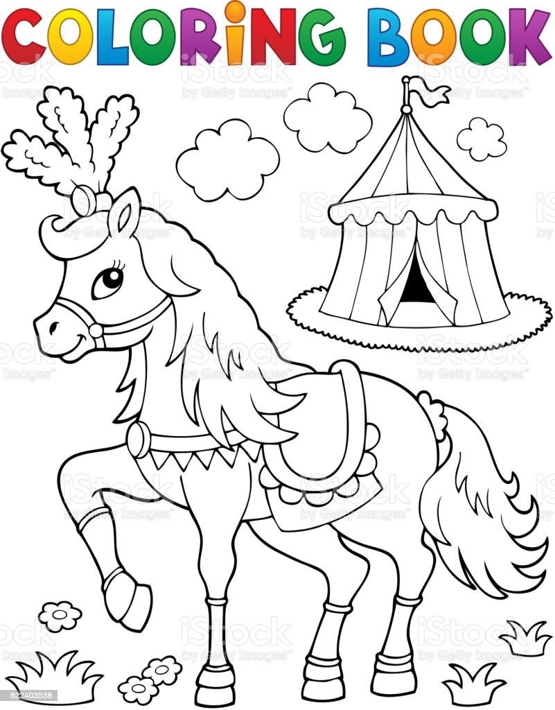 Coloring Book Pferd In Der Nähe Von Zirkusthema 2 Stock ...