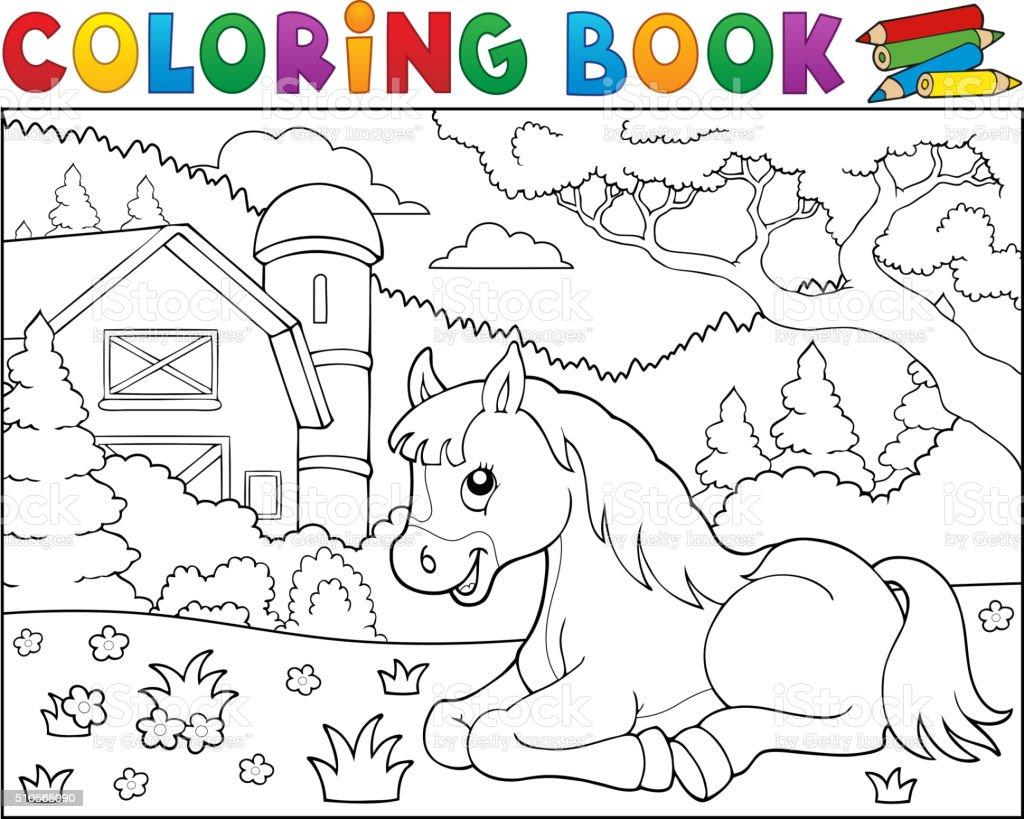 Coloriage Batiment Ferme.Livre De Coloriage Theme Cheval A La Ferme 2 Vecteurs Libres De
