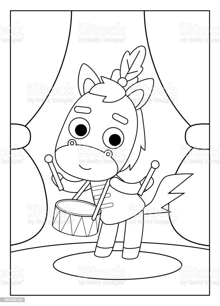 Ilustración de Libro Para Colorear Caballo y más banco de imágenes ...