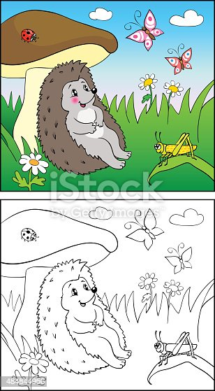istock Coloring book. Cat sit on grass among flowers and butterfly ...