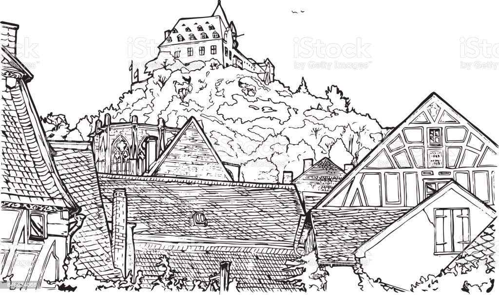 Coloring Book Illustration Of Old Village Stock Vector Art & More ...