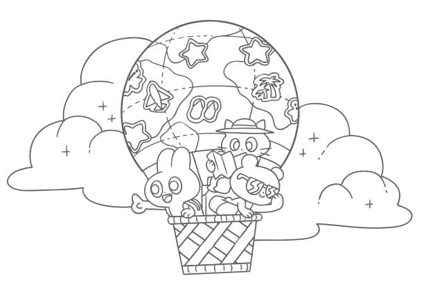 Coloring book illustration of rabbit, bear and cat in a balloon vector art illustration