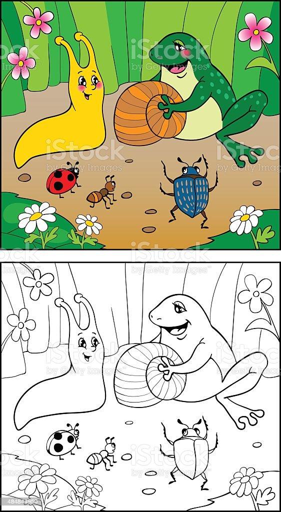 Libro Para Colorear Ilustración De Caracol Insectos Y Rana - Arte ...