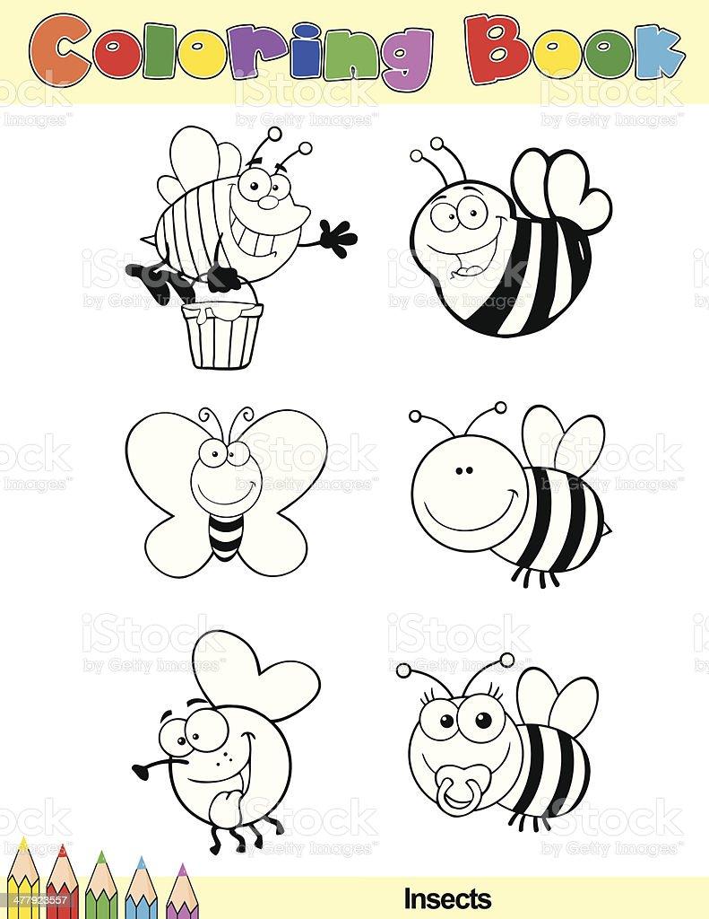 Libro Para Colorear Insectos Dibujos Animados Caracteres - Arte ...