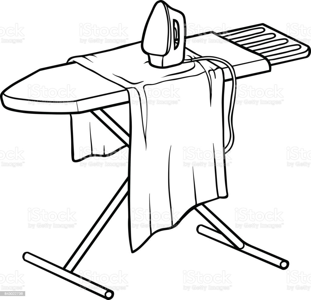Coloring Book Ironing Board Stock Vector Art & More Images of Black ...