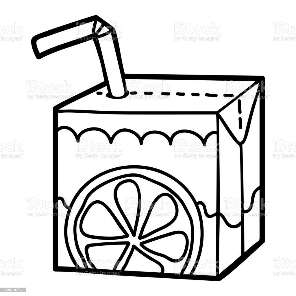 Ilustración De Libro Para Colorear Caja De Jugo Con Paja Y