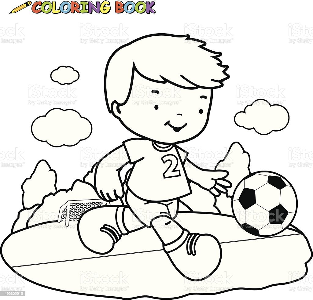 Coloring Book Kid Playing Football Royalty Free Stock Vector Art