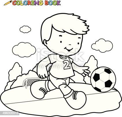 Ilustración de Libro Para Colorear Niño Jugando Fútbol Americano y ...