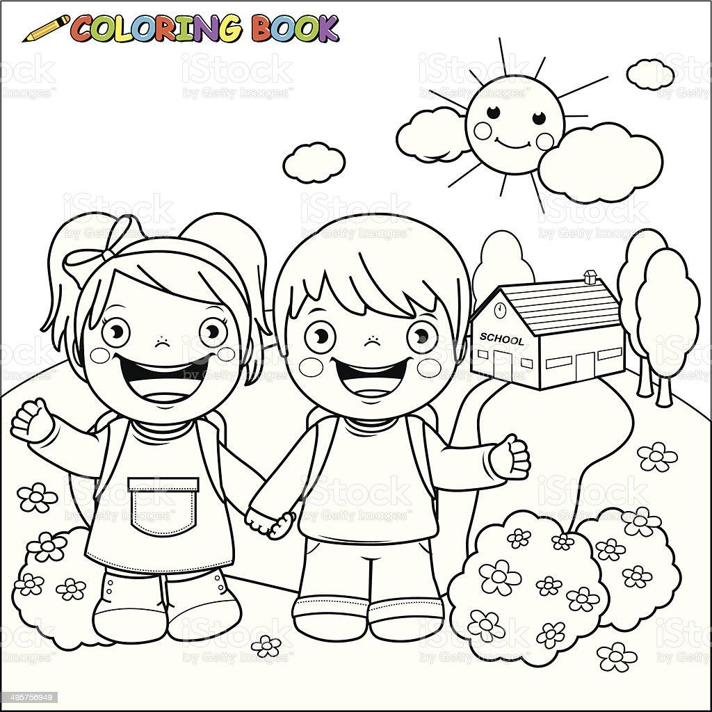 Ilustración de Libro Para Colorear Los Niños En La Escuela y más ...