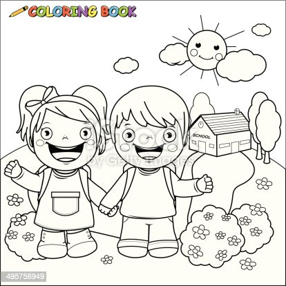 Coloring Book Kids At School Stock Vector Art & More