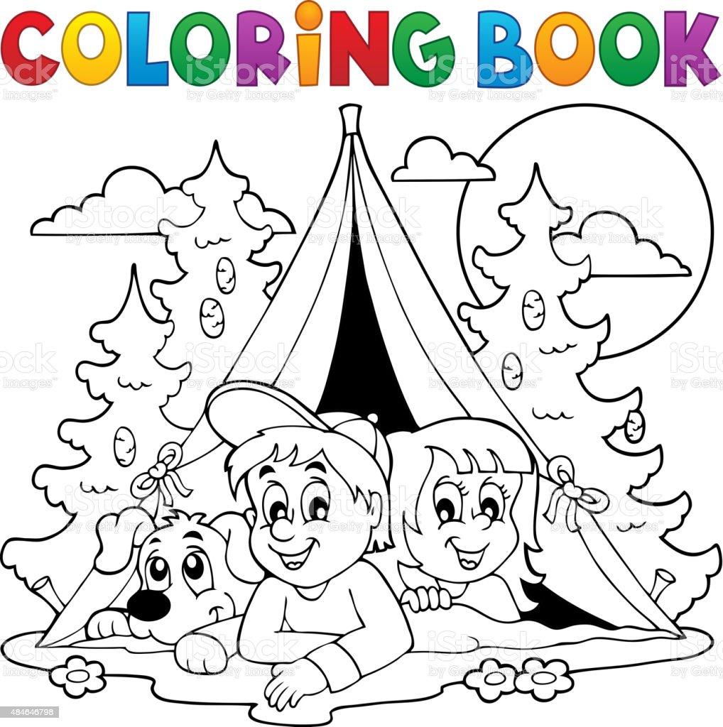 Libro Para Colorear Con Los Niños Camping Bosque - Arte vectorial de ...