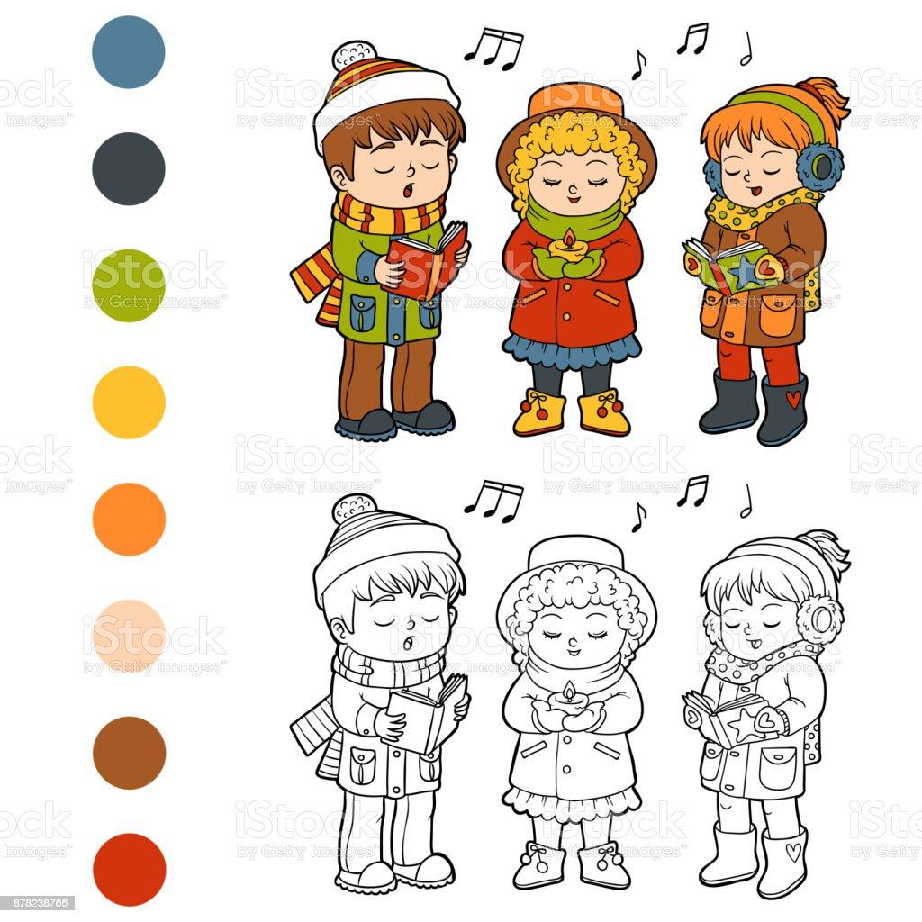 Libro Para Colorear Niños Navidad Coro - Arte vectorial de stock y ...