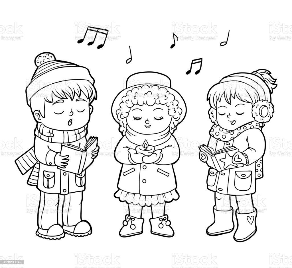 Ilustración de Libro Para Colorear Niños Navidad Coro y más banco de ...