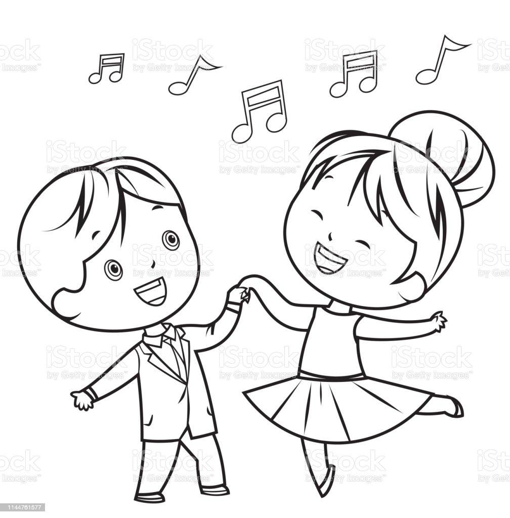 Ilustracion De Libro Para Colorear Ninos Danza Y Mas Vectores